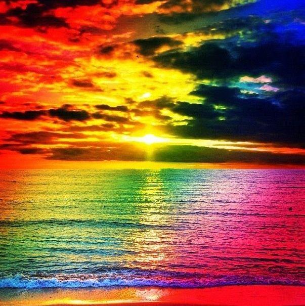 Rainbow Sunset The Beach Pinterest