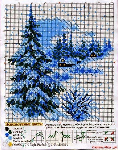 Зимний пейзаж схема для вышивки 498