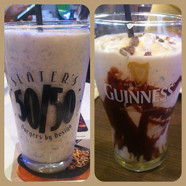 Strawberry Nutella shake / Guinness Mint Chocolate shake