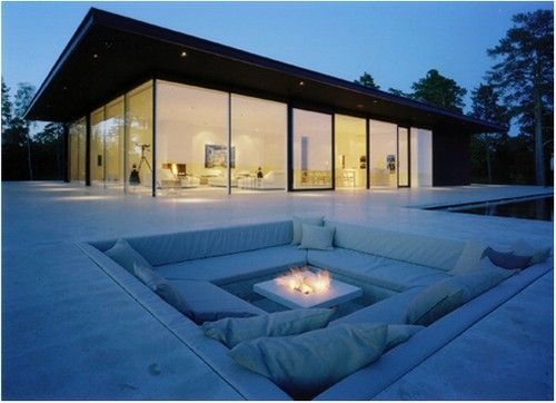 Recessed Fire Pit Houses Landscaping Pinterest
