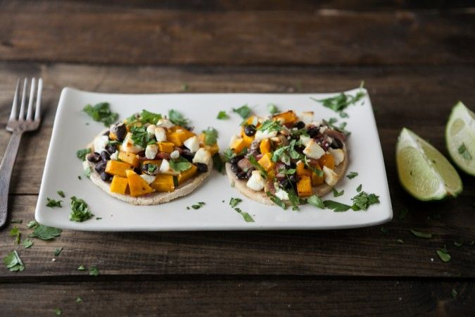 Chipotle Butternut Squash, Black Beans, and Goat Cheese Tostadas.YUMMY ...