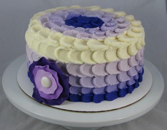 Ombre Purple Ruffle Cake   Purple 18th Cupcake tower   Pinterest