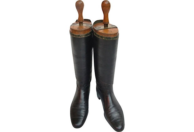 "19th-century pair of English leather riding boots with wood boot forms. ""Hon'ble W.H. Littleton"" engraved on the metal portion of the form. 