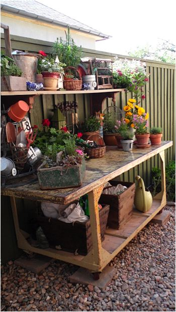 Everyone needs a potting bench or area – no matter how small your garden is. This is a wonderful way to organize all of the things you have anyway.