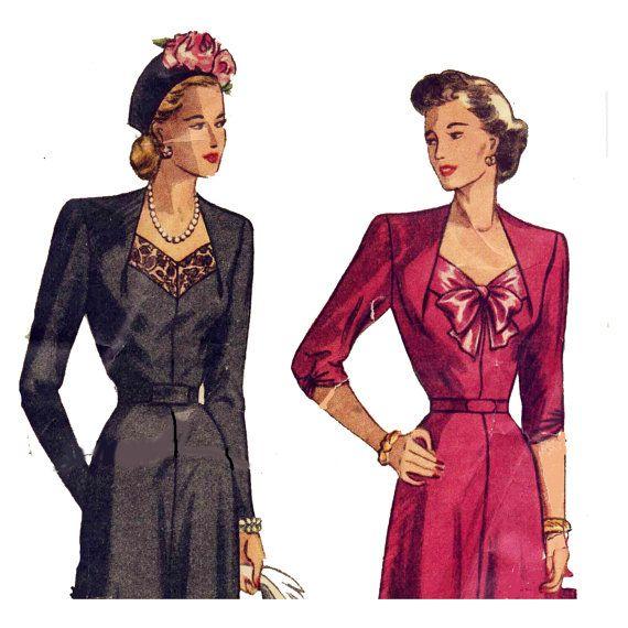 1940s Sweetheart Neckline Dress  Bust 40 Lace by PatternAndStitch, $38.00