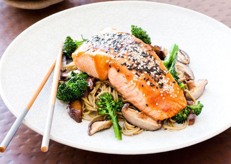 Miso & Sesame Glazed Regal Salmon with Shiitake, Broccolini & Soba ...