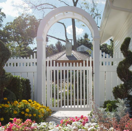 White picket fence gate w arbor arbors pergolas for Fence with arbor