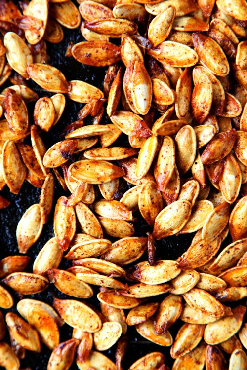 Spicy Pumpkin Seeds The seeds of 2 pumpkins 3 tablespoons of melted ...