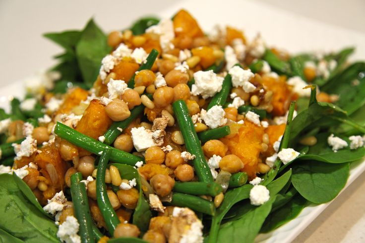 Roast Pumpkin and Chickpea Salad with Green Beans & Feta