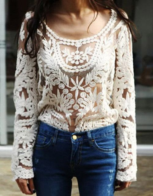 Crochet Top : Crochet Lace Top - Beige (would love the opportunity to show what it ...