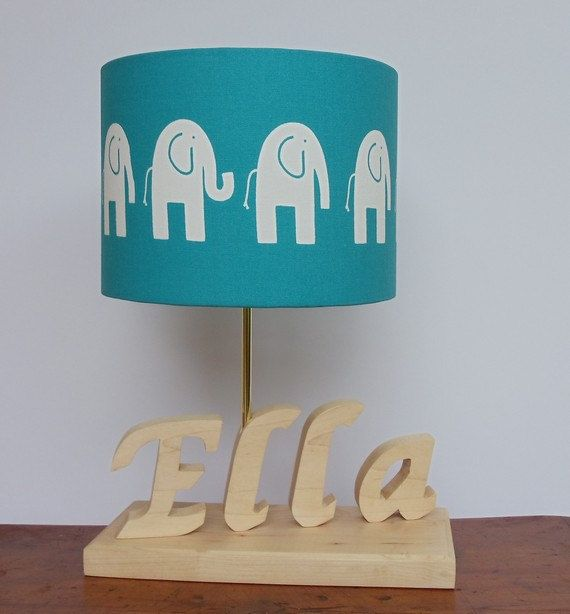 handmade elephant drum lamp shade turquoise with white elephant des. Black Bedroom Furniture Sets. Home Design Ideas