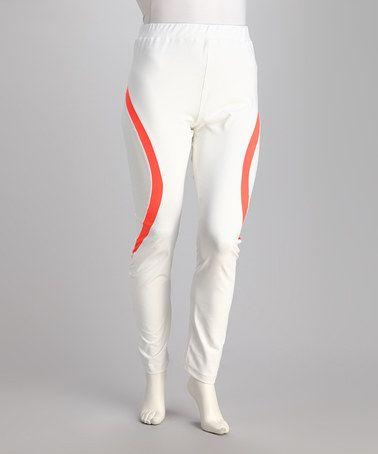 White & Neon Mango Yoga Pants by Kaktus | Fitness & Health | Pinterest