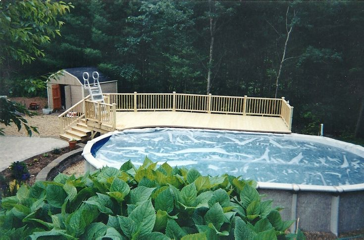 Deck for above ground pool westford pool deck designs for Prefab pools