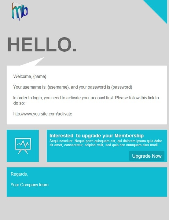 Account Activation Email Template | Welcome Email Message Template