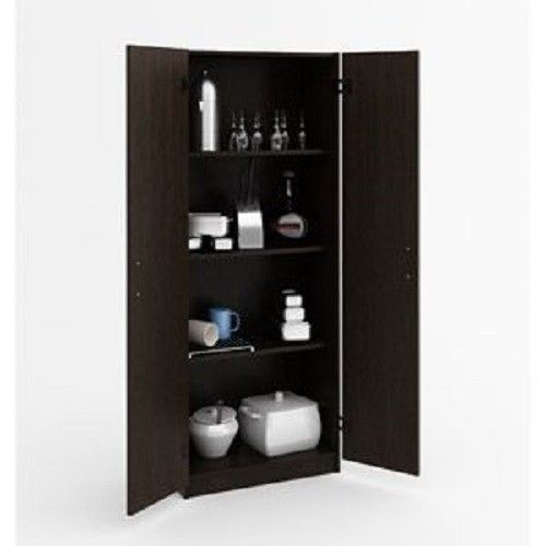 Tall Double Door Storage Cabinet Pantry Cupboard Four Shelves Kitchen