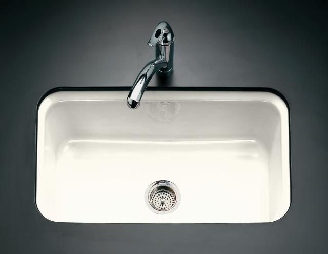 Farmers Sink White : Under mount sink: Kohlers Bakersfield White Cast-Iron Sink. $407.17 ...