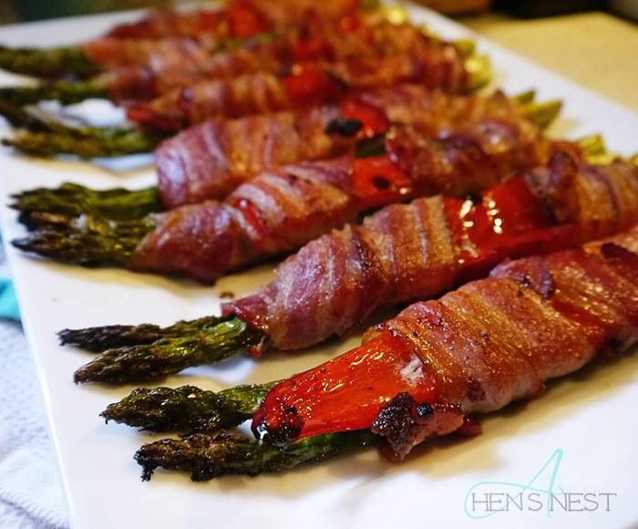 bacon wrapped asparagus and peppers | Bacon! | Pinterest