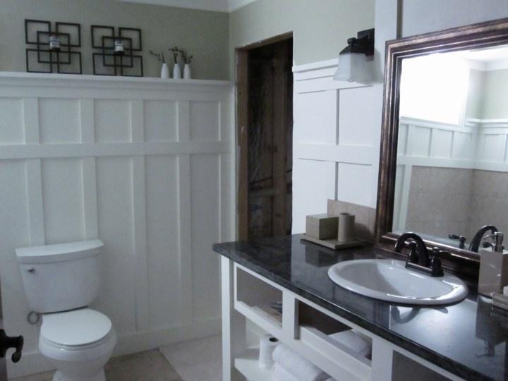 Wall treatment in bathroom bathroom ideas pinterest for Bathroom rehab ideas