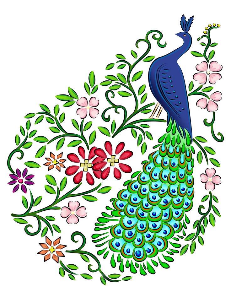 Beautiful peacocks drawing
