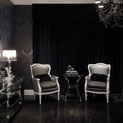 Damask Black On Black Wallpaper Victorian Gothic Home Pinterest