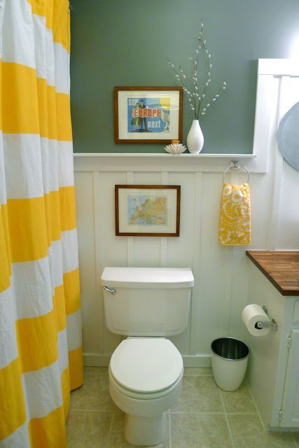 Teal And Yellow Bathroom