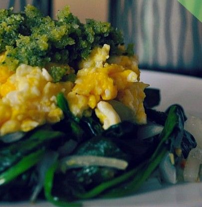 Pesto Eggs with Arugula and Spinach | Breakfast | Pinterest