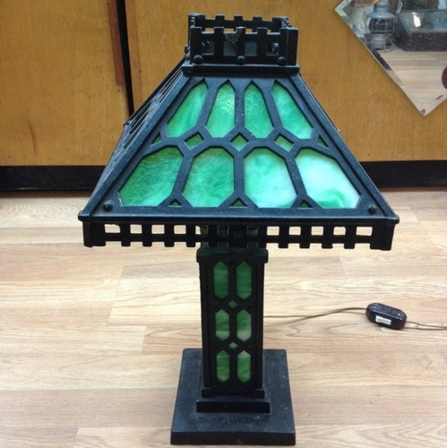 antique period arts and crafts table lamp case metal ans. Black Bedroom Furniture Sets. Home Design Ideas