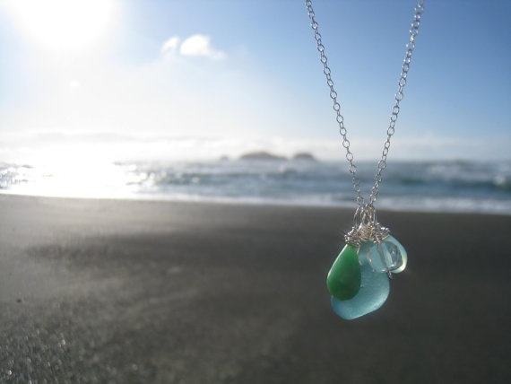 BEACHY BLUE Sea Glass Necklace by aquaMarinejewel on Etsy, $35.00