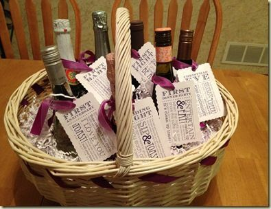 Bridal Shower Wine Gift Basket Ideas : Bridal Shower Wine Basket wedding beautys Pinterest