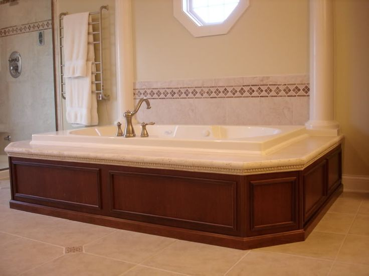 Pin by becky g on bathroom pinterest for Wood tile tub surround