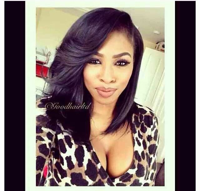 hairstyles with one short side : Deep Side Part Bob Hairstyles with Weave