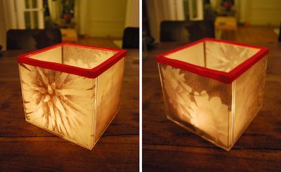 CD Case Candle Holder-pictures printed on vellum . Glue sides and ribbon to top.