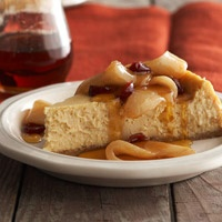 Maple Cheesecake with Maple-Glazed Pears and Cranberries | Recipe