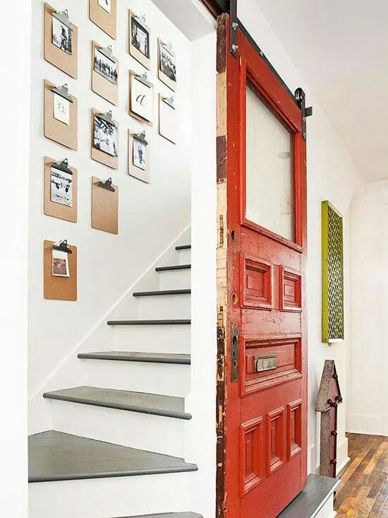 sliding door to block stairs for the home pinterest. Black Bedroom Furniture Sets. Home Design Ideas