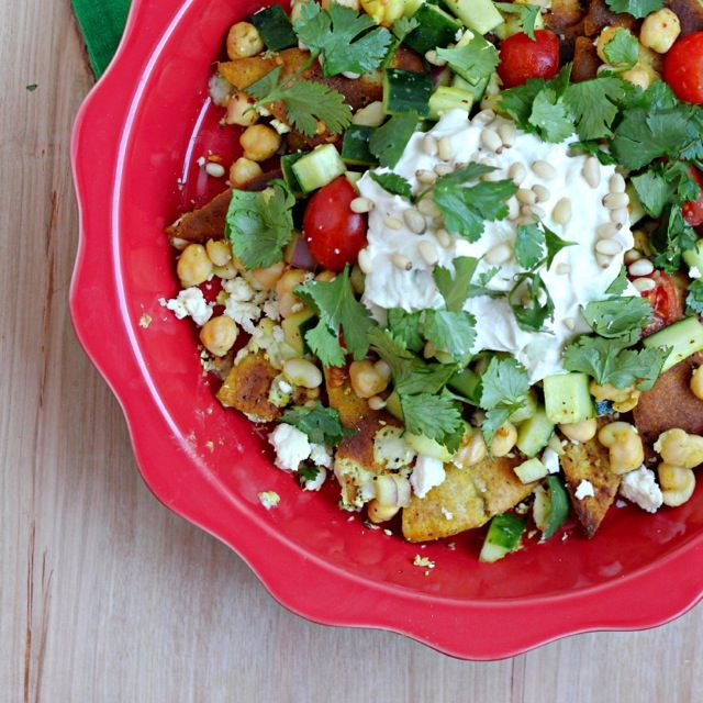 ... pita chips, Greek yogurt, chickpeas, Israeli cucumber tomato salad and