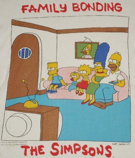 1990 The Simpsons Family Bonding Shirt.