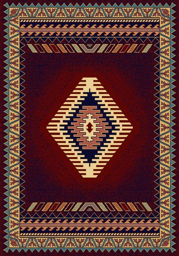 Southwestern Burgundy Lodge 5x8 Apache Style Area Rug