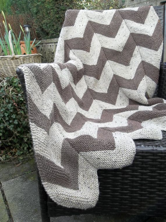 Chevron Knitting Pattern : Aran Garter Stitch Chevron Throw. PDF Knitting Pattern