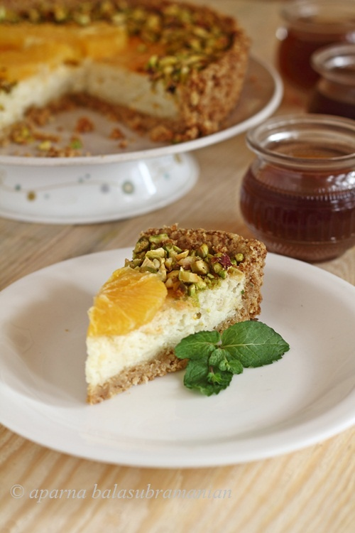 Baked Yogurt Tart with Fresh Orange & Pistachios in an Oatmeal Crust