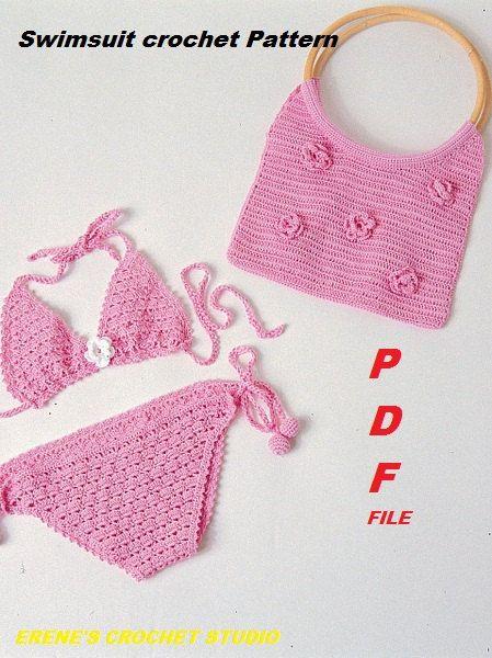 Crochet Swimsuit : Crochet swimsuit Pattern for Girl of 3-4 years old Pink bikini .Handb ...