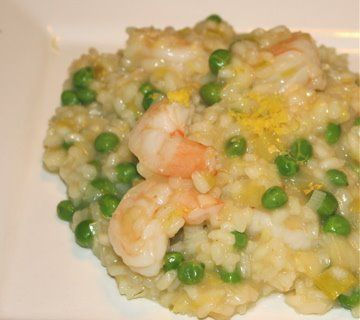 Shrimp Risotto with Sweet Peas and Leeks | Recipes | Pinterest