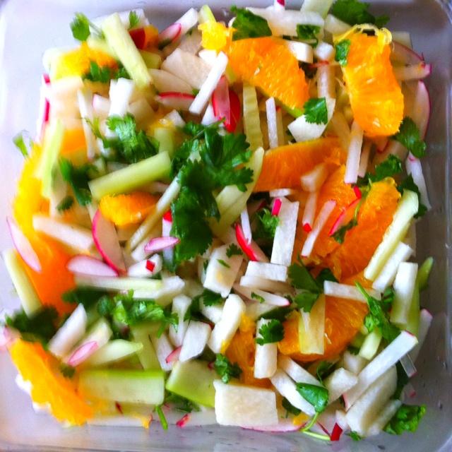 Jicama salad- diced jicama, cucumbers, radish then add chopped ...
