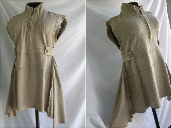 Womens unique clothing refashioned tunic top sleeveless assymetrical