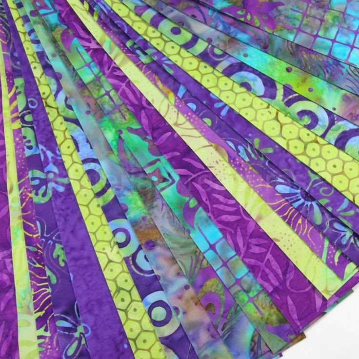20 Jelly Roll Strips Bali Batik Quilt Fabric Purple Green Blue ...