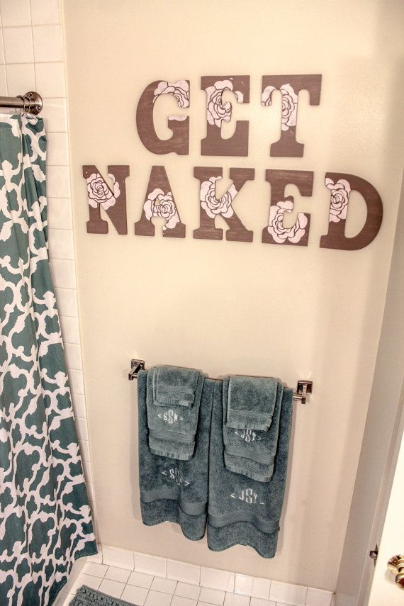 Bathroom Wall Text GET NAKED by LiefdeLiebeLove on Etsy, $62.00