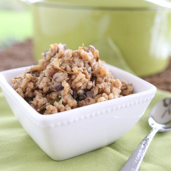 ... for a weeknight meal! Baked mushroom risotto with caramelized onions