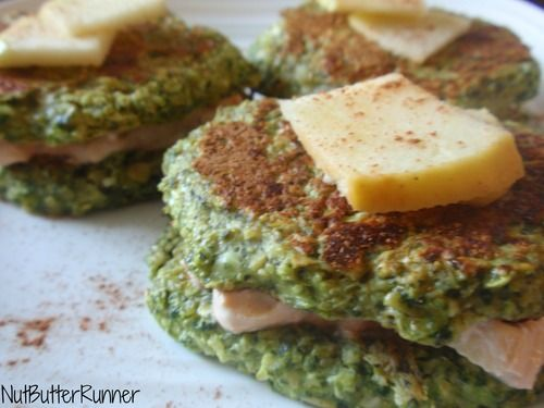 Peanut Butter Pan-wich- oats, spinach, cottage cheese, apple, egg ...