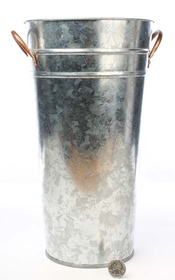 Galvanized metal french flower bucket for Large galvanized buckets for flowers