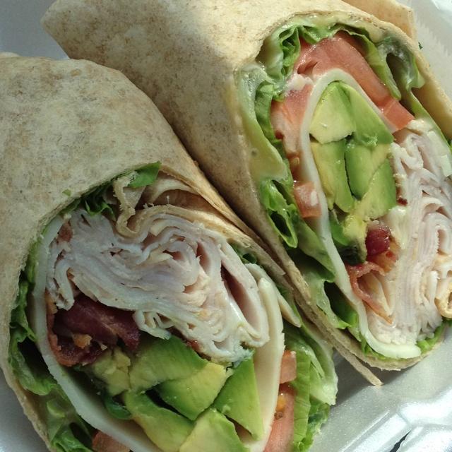 avocado wrap (smoked turkey breast, avocado, provolone cheese, bacon ...