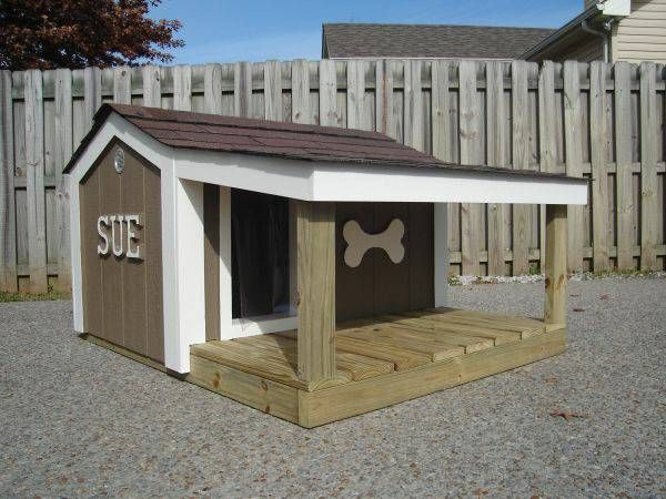 Custom dog house w porch animals pinterest for Large custom dog houses